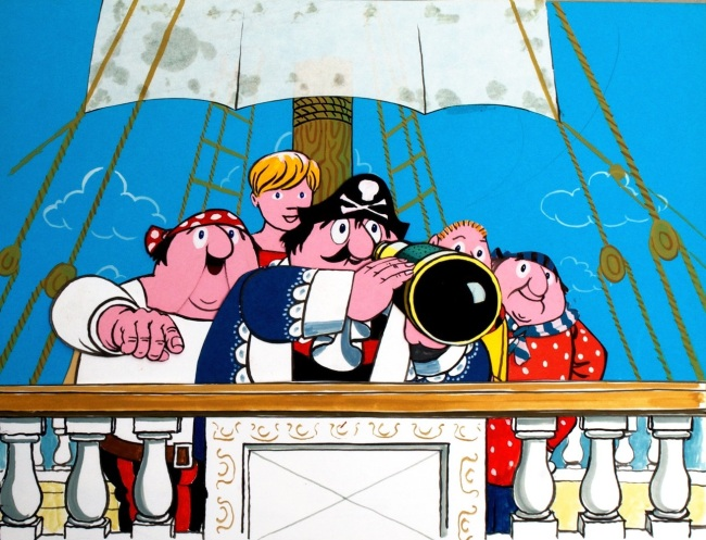 Captain Pugwash with his trusty crew.