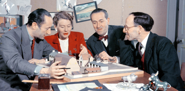 Matyas Seiber (right of picture) with John Halas, Joy Batchelor, and John Reed discuss the models for Animal Farm (1954)